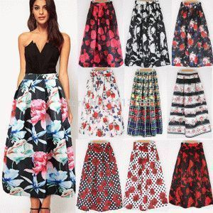 New-Fashion-Women-Skirts-Autumn-Winter-Warm-Flower-Print-Long-Skirts-Female-Casual-Pleated-Vintage-Maxi